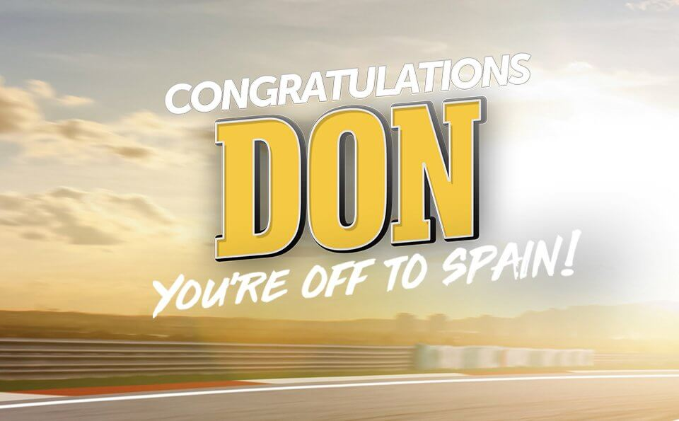 CONGRATULATIONS DON! YOU'RE OFF TO SPAIN!