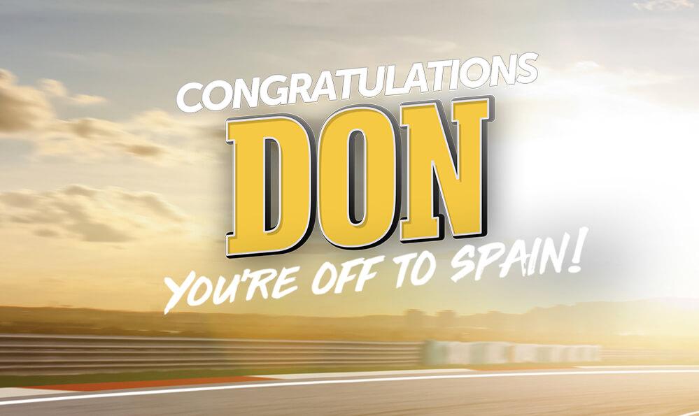 Congrats to Lucky Motor Race Winner Don!