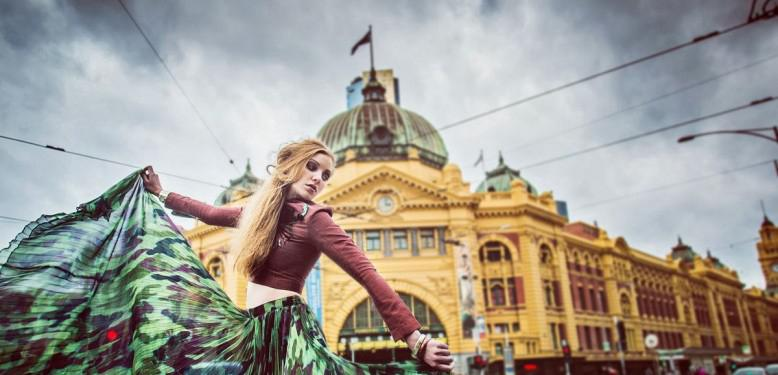 Kanapot Aunsorn's Sporty Camou Maxi Dress collection in Melbourne