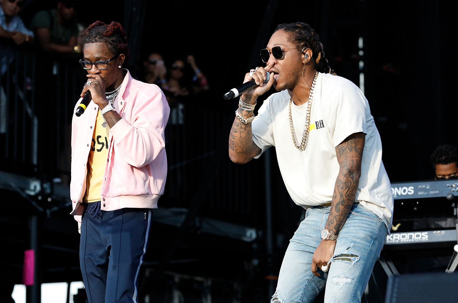 NEW YORK, NY - SEPTEMBER 16: Young Thug (L) and Future perform onstage during Day 2 at The Meadows Music & Arts Festival at Citi Field on September 16, 2017 in New York City. (Photo by Taylor Hill/Getty Images for The Meadows Music & Arts Festival)