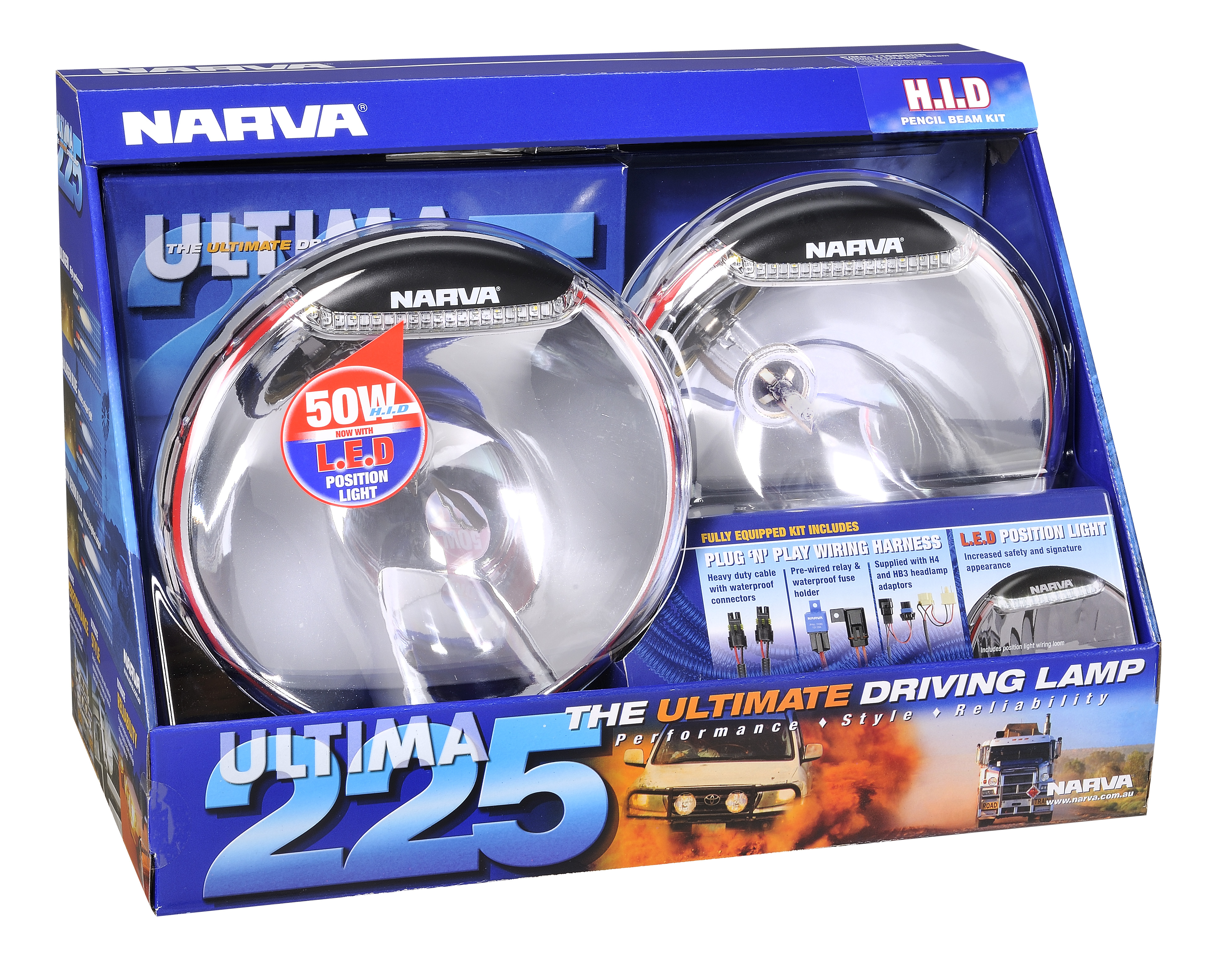 Narva Ultima 225 Hid Pencil Beam Driving Lamp Kit 24v 50w 71680hid Wiring Harness Image Is Loading