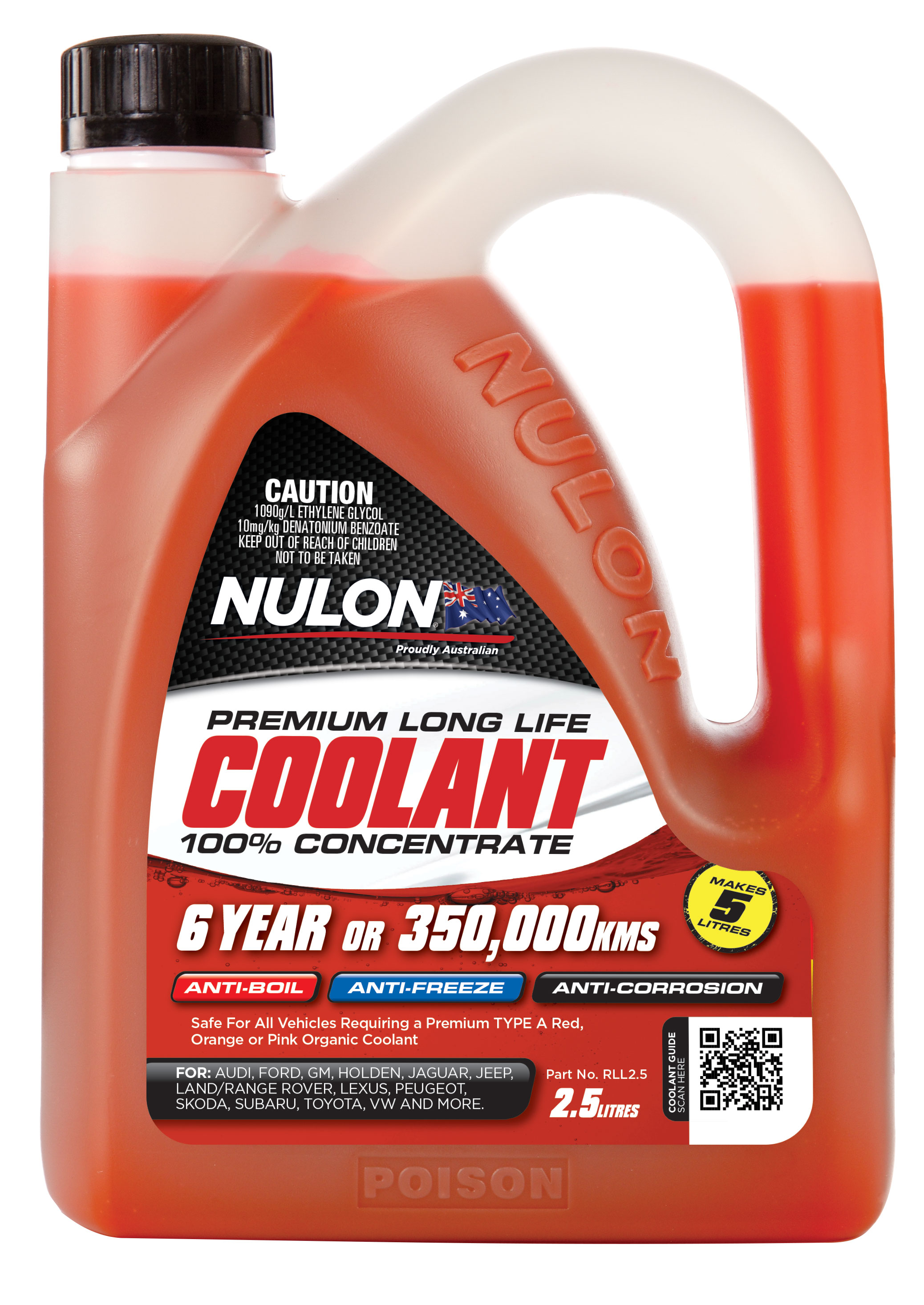Details about Nulon Long Life Red Concentrate Coolant 2 5L RLL2 5
