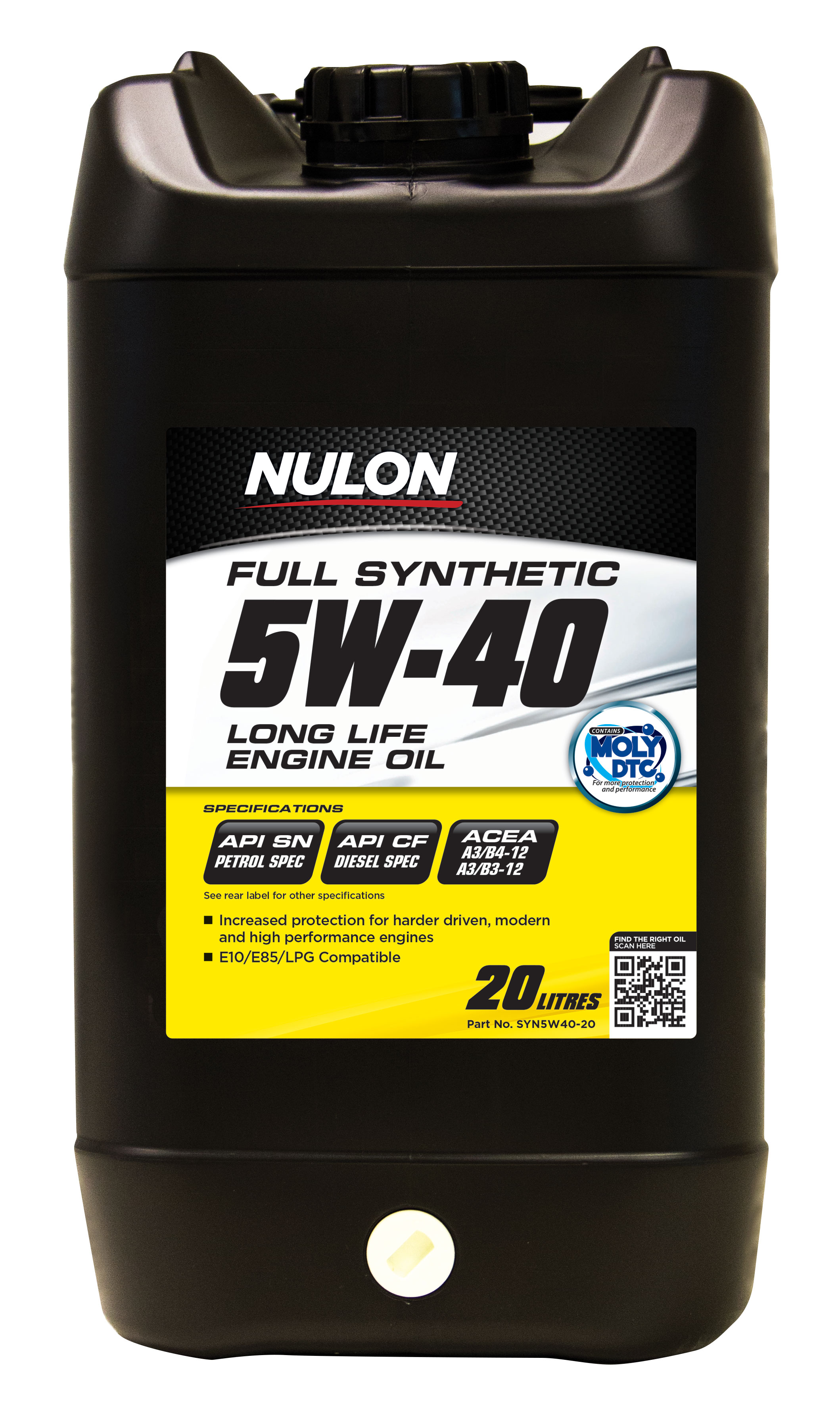 Nulon Full Synthetic 5w40 Long Life Engine Oil 20l Syn5w40