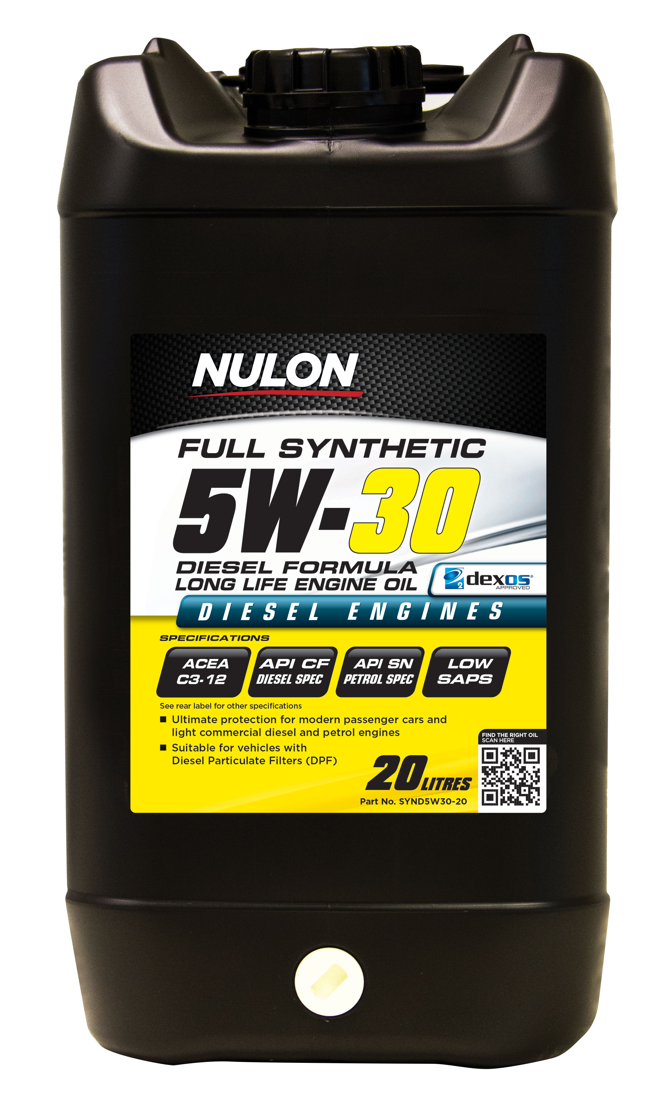 Nulon full synthetic 5w30 diesel formula long life engine for Life of synthetic motor oil