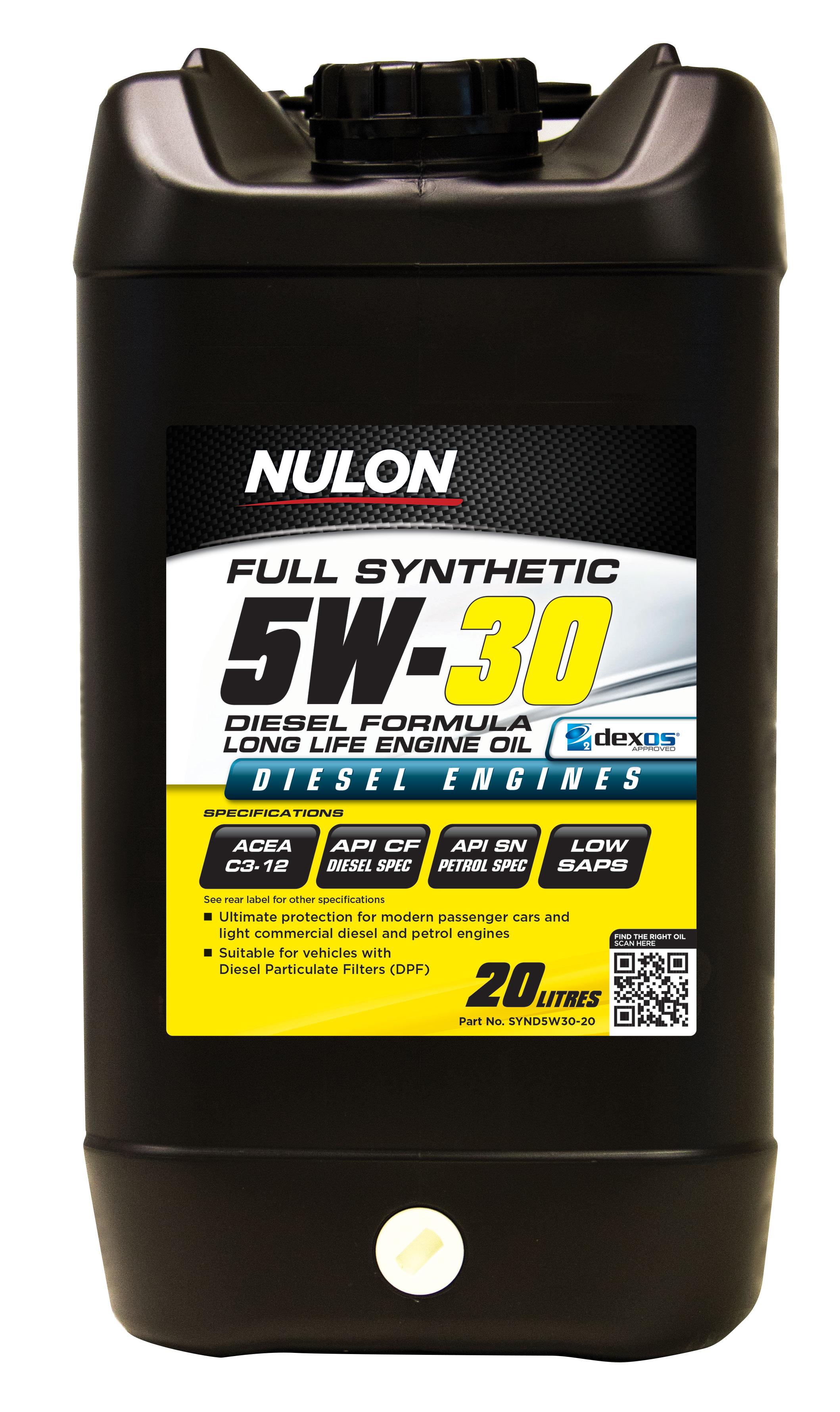Nulon full synthetic 5w30 diesel formula long life engine for Synthetic motor oil for diesel engines