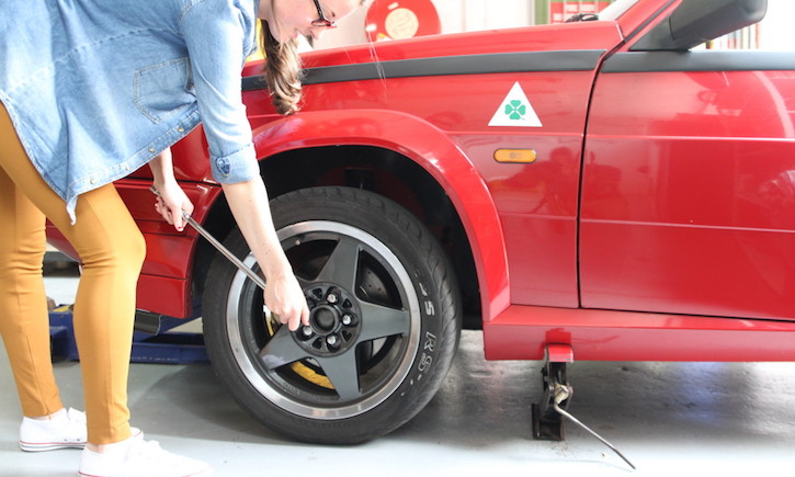 How to change a tyre: Crack the wheel nuts 1