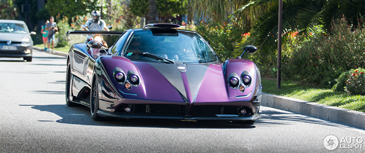Lewis Hamilton driving his purple pagani zonda