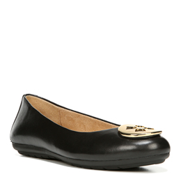 Ulani Black Leather Flats
