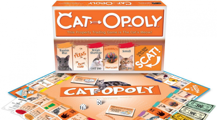 Cat-Opoly is just like Monopoly, but it's better 'cause it has cats!