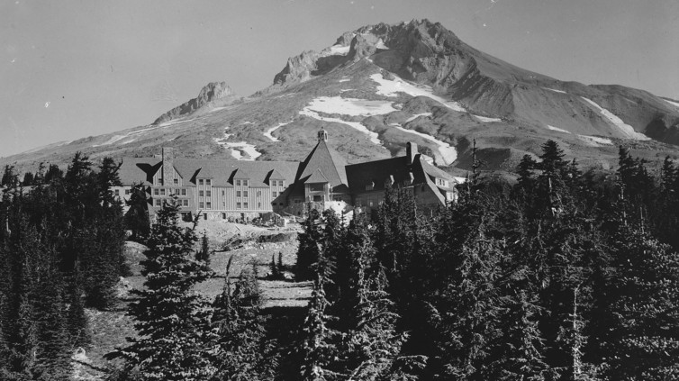 Exterior shots of Oregon's remote Timberline Lodge were used for The Shining's haunted Overlook Hotel. National Archives/Wikimedia Commons