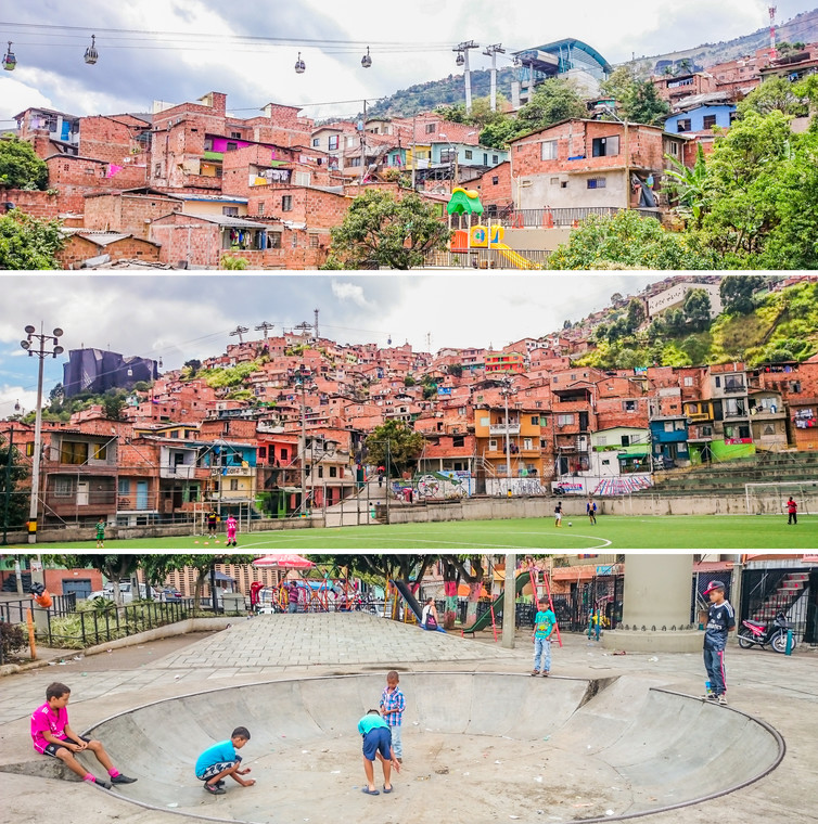 Integrated approaches work at multiple scales to provide access to public space and affordable public transport and facilities, as seen in the Northeastern Urban Integration Project, Medellin, Colombia. Hesam Kamalipour, Author provided
