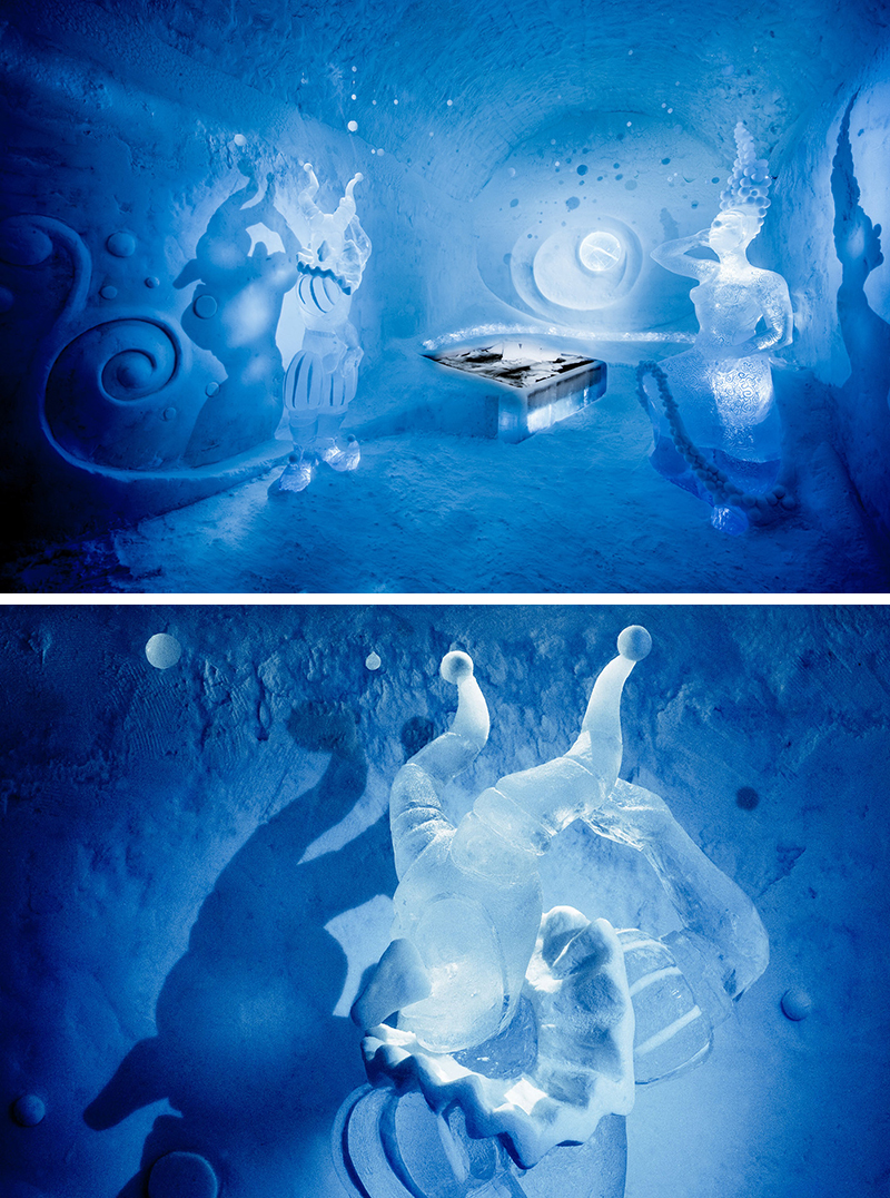 Art Suite – Dancers in the Dark – designed by Tjasa Gusfors & Patrick Dallard. Photography by Asaf Kliger | ICEHOTEL.