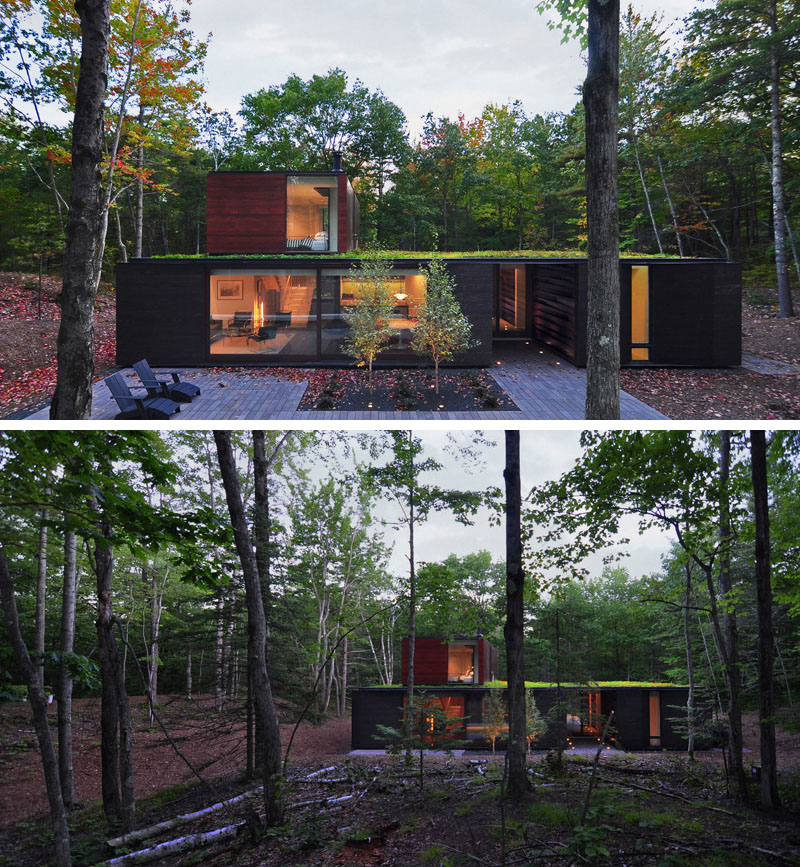 Johnsen Schmaling Architects designed this home in a forest in Wisconsin.
