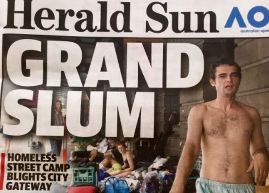 Under pressure from media coverage like this, Lord Mayor Robert Doyle wants to ban people from sleeping on Melbourne's streets. Herald Sun