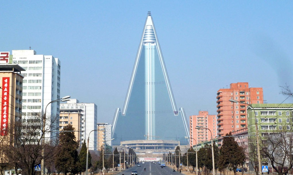 This pyramid-shaped hotel in North Korea, once a contender for the tallest hotel in the world, has remained unfinished since 1989 and instead became the world's largest abandoned building.