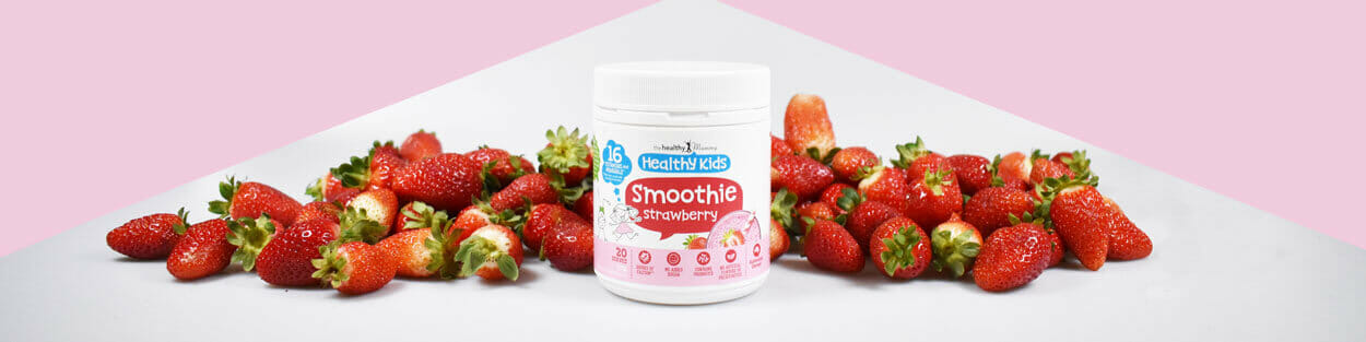 Kids Strawberry Smoothie with strawberries