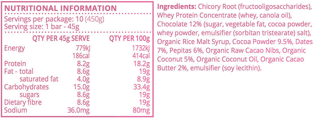 Double-Choc Snack Bars - Nutritional Info