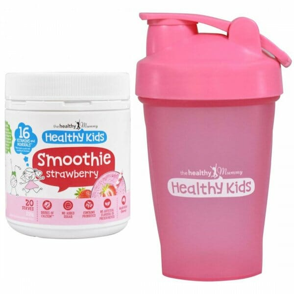 kids strawberry smoothies & pink shaker