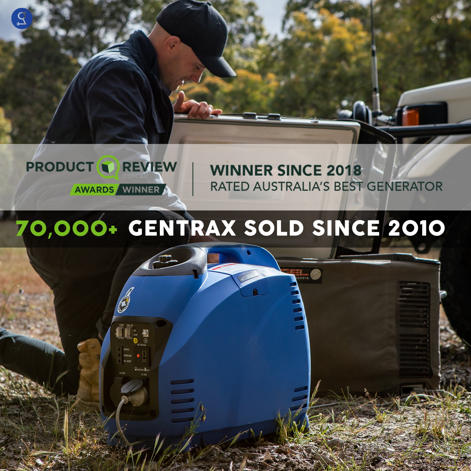 GenTrax Inverter Generator 3.5KW Max 3KW Rated Pure Sine Portable Camping Petrol 3