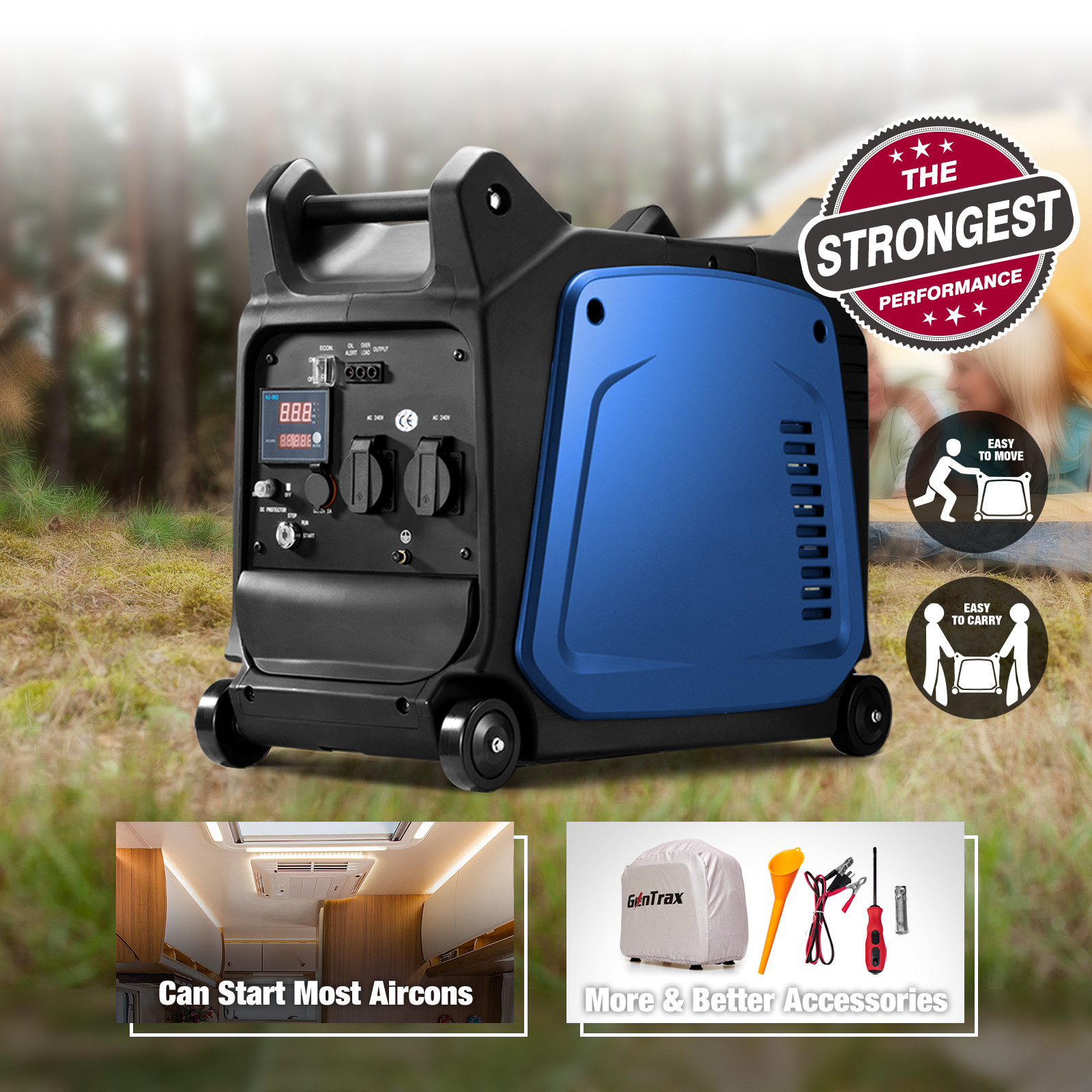[15%OFF] GenTrax Inverter Generator 3.5KW Max 3.2KW Rated Remote Portable Petrol 3