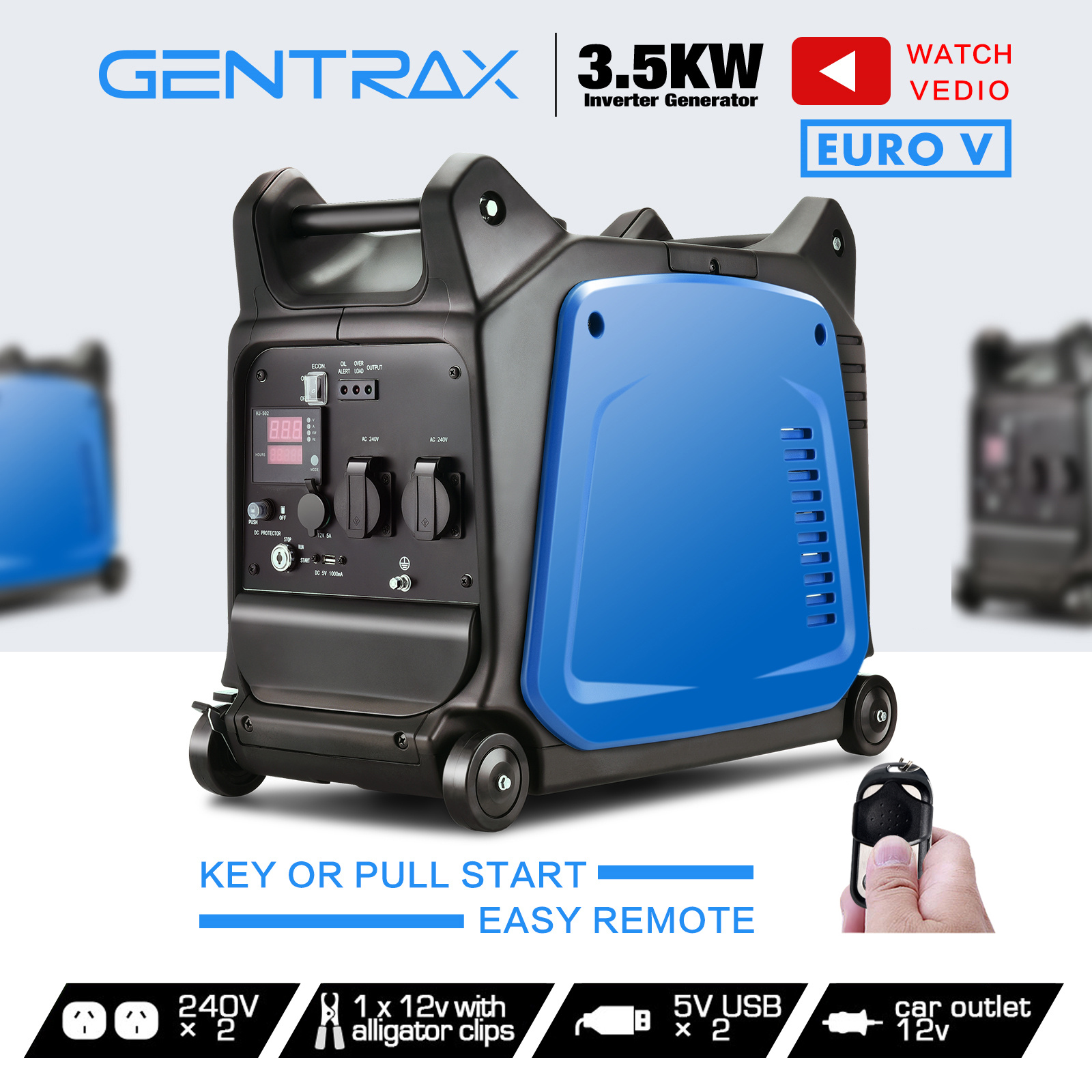 [15%OFF] GenTrax Inverter Generator 3.5KW Max 3.2KW Rated Remote Portable Petrol