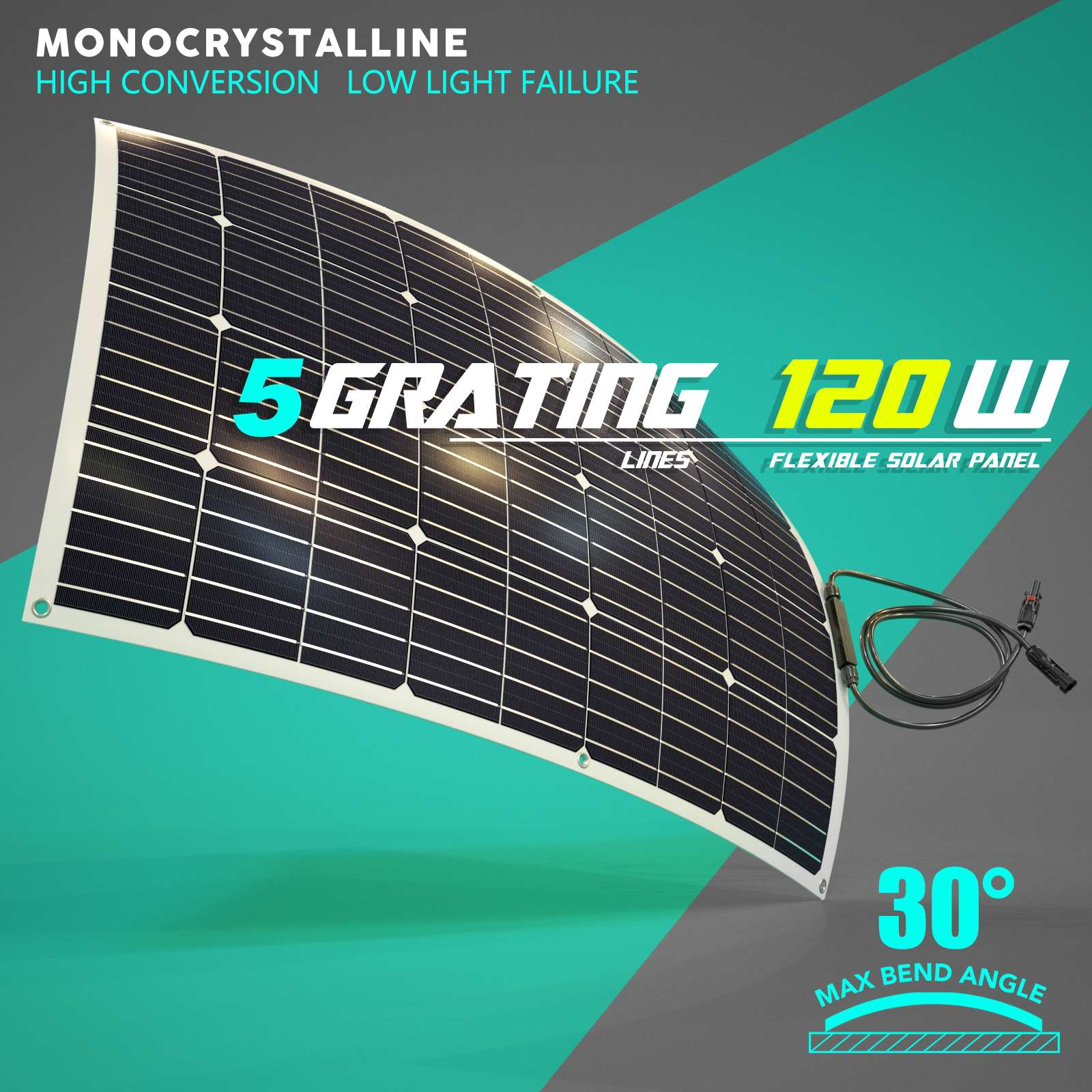 15-OFF-100W-120W-200W-250W-Flexible-Solar-Panel-Kit-Mono-Caravan-Power-Charging thumbnail 14