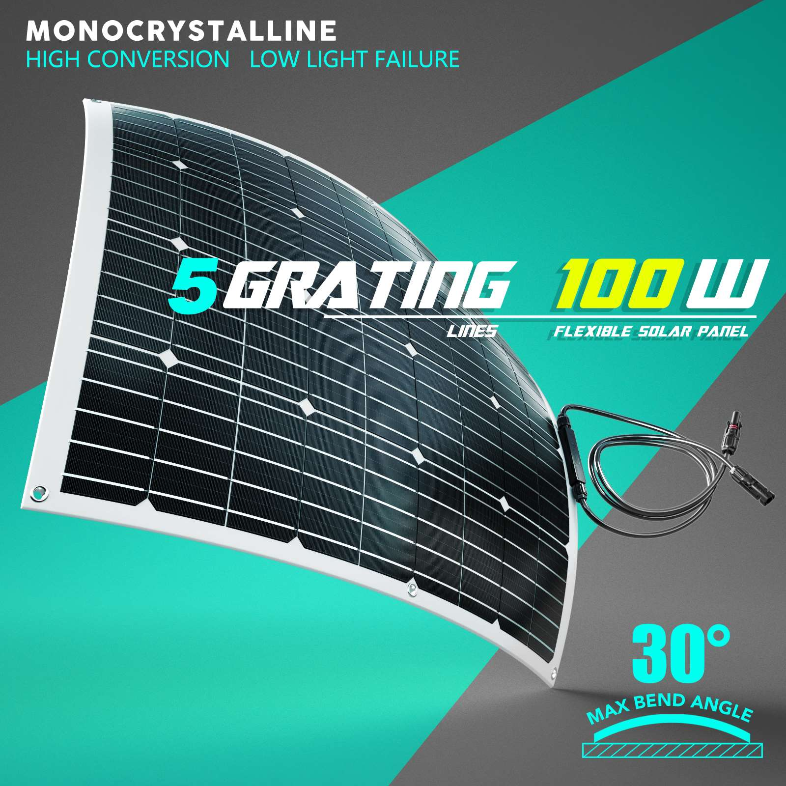 15-OFF-100W-120W-200W-250W-Flexible-Solar-Panel-Kit-Mono-Caravan-Power-Charging thumbnail 2