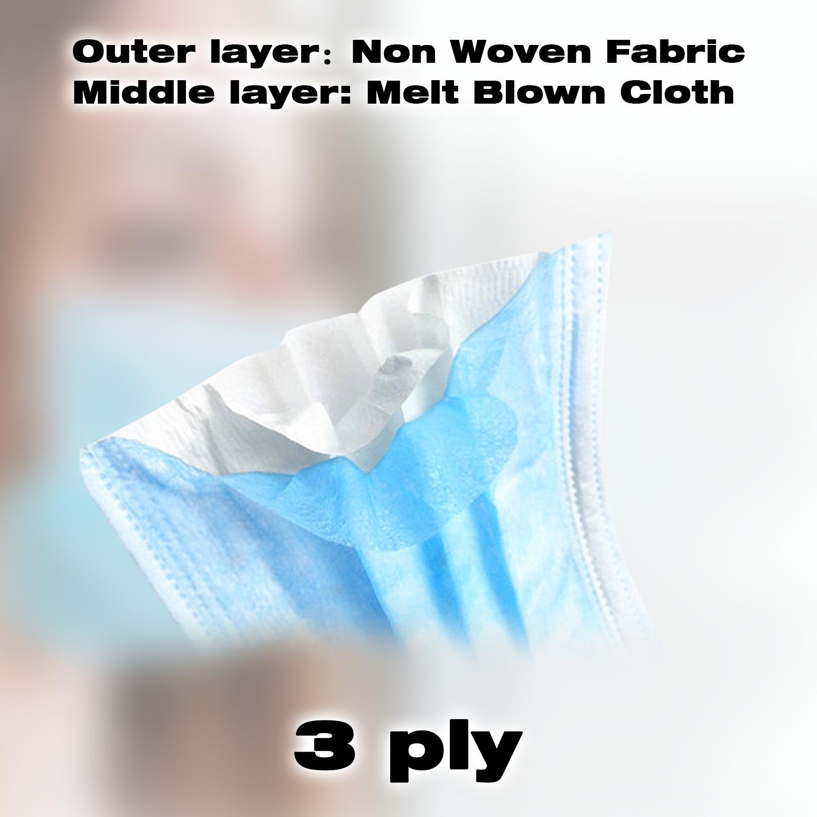 thumbnail 39 - 50/100pcs Disposable Face Mask Protective Mouth Masks 3 Layer Meltblown Filter