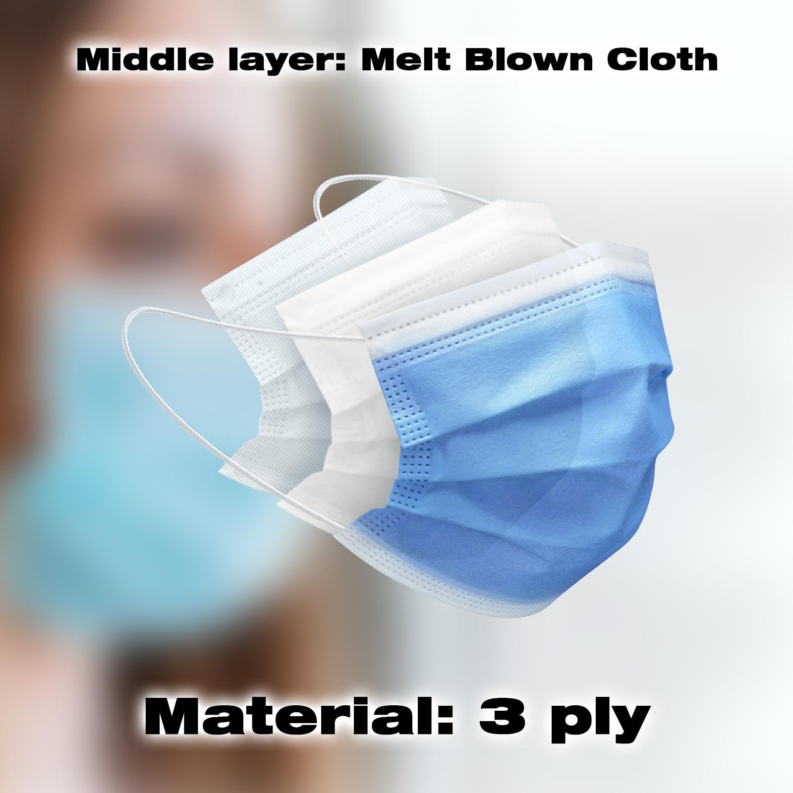 thumbnail 31 - 50/100pcs Disposable Face Mask Protective Mouth Masks 3 Layer Meltblown Filter