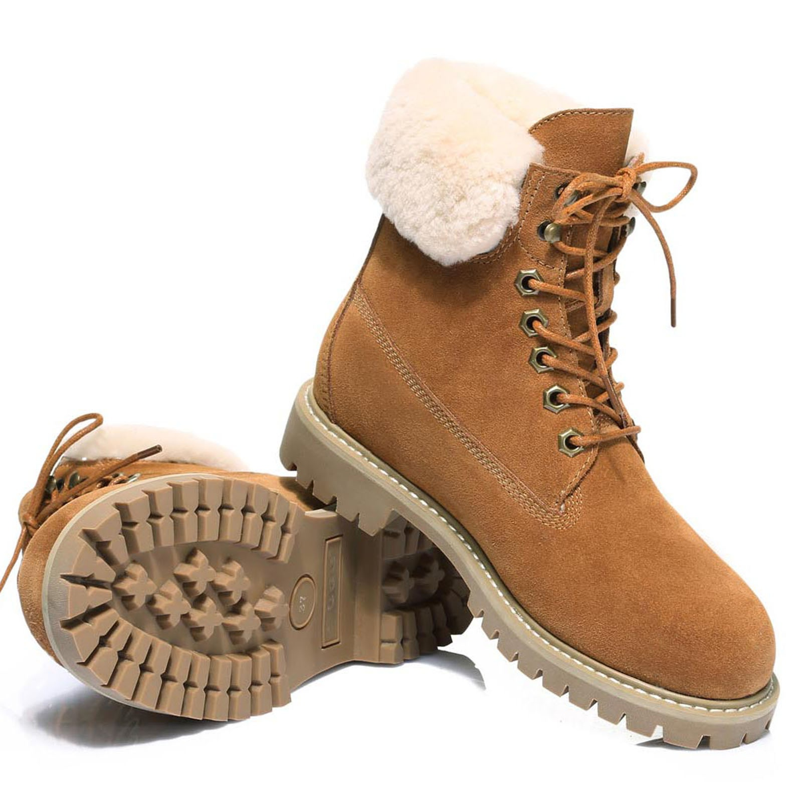 UGG-Boots-Australian-wool-Genuine-Hope-Ladies-Fashion-with-Front-Lace-lining thumbnail 9