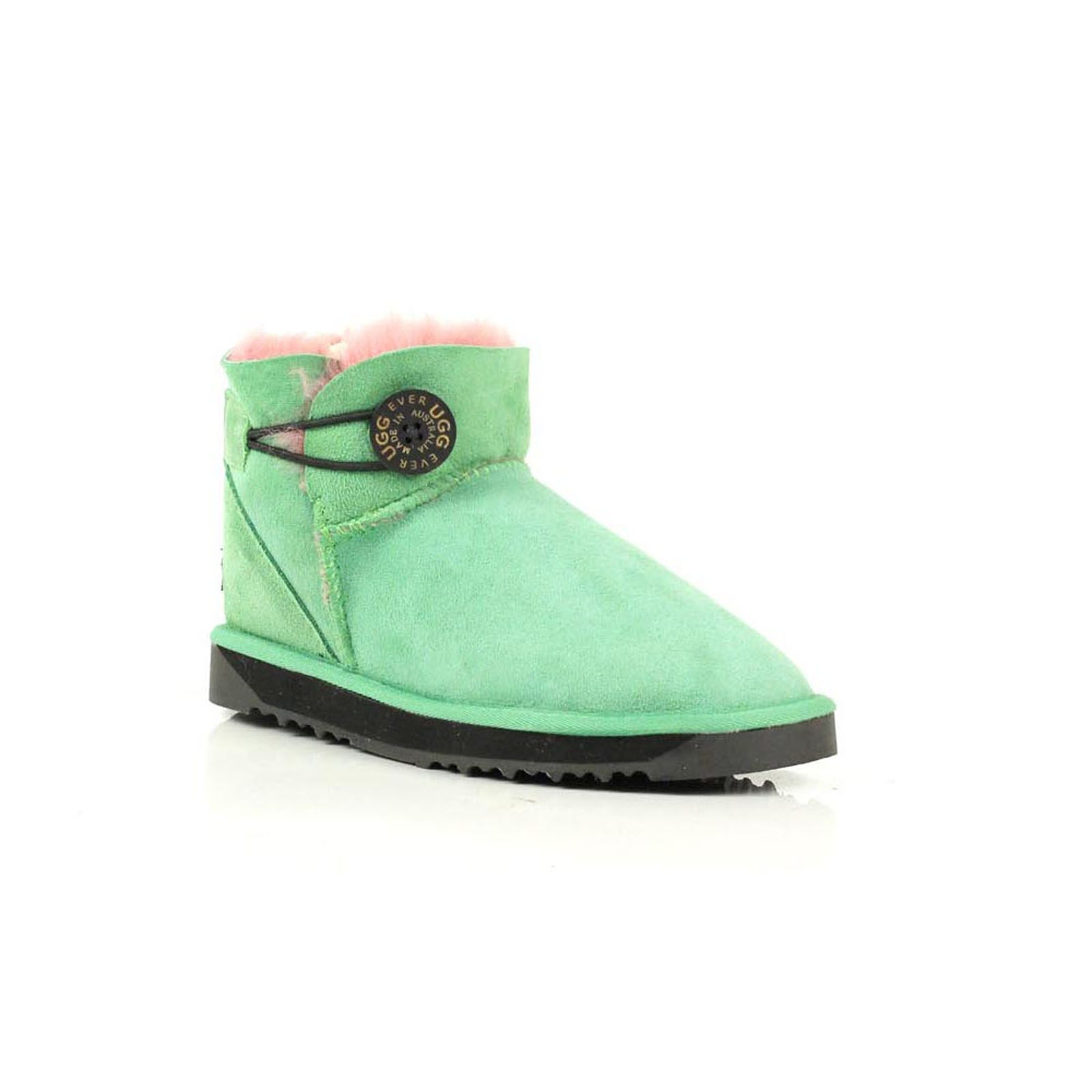 Details about Ugg Boots 100% Sheepskin Mini Button Rubber Soles Ladies Green Size 35 39 EU