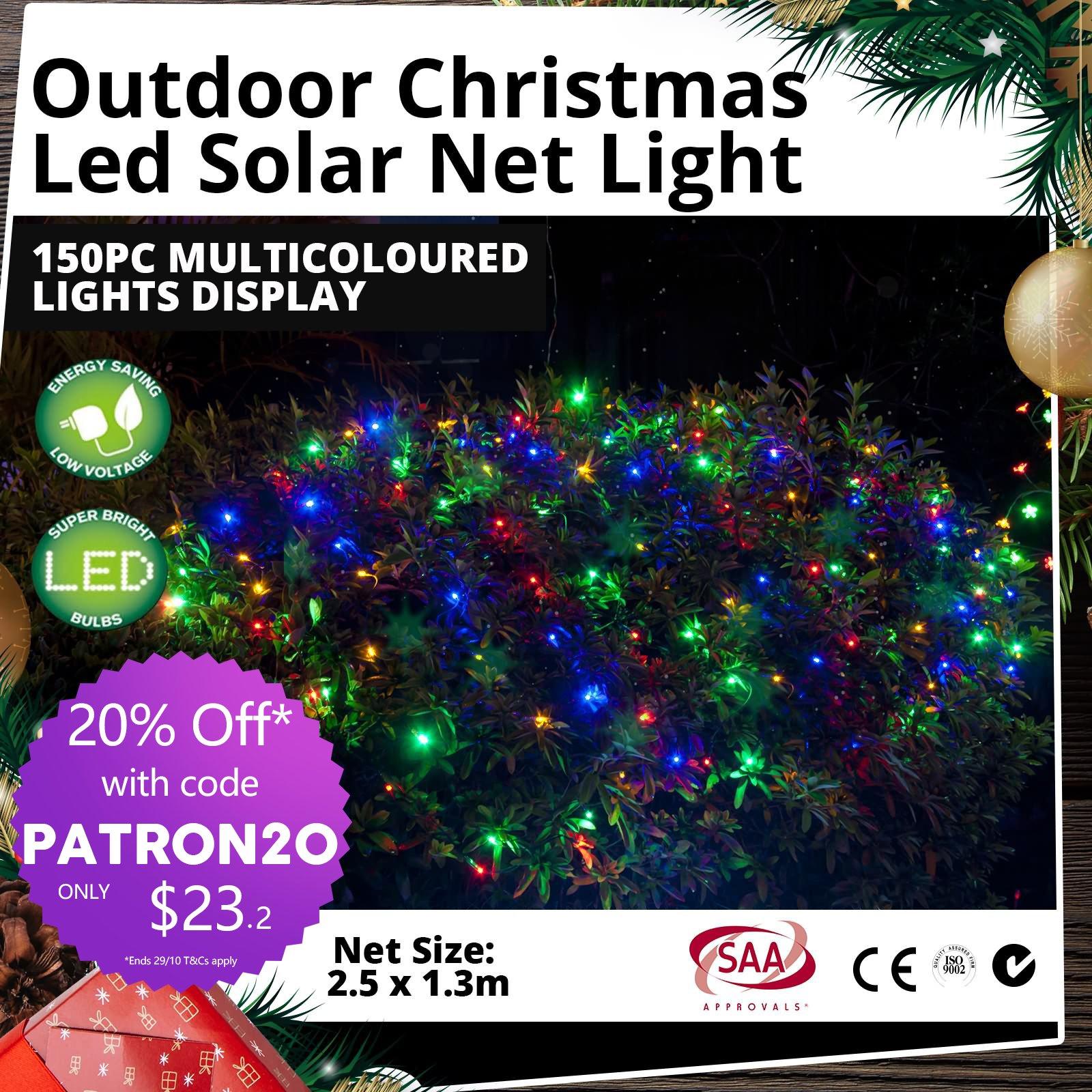 Solar Christmas Lights LED 150pc Star String Net Multi ...