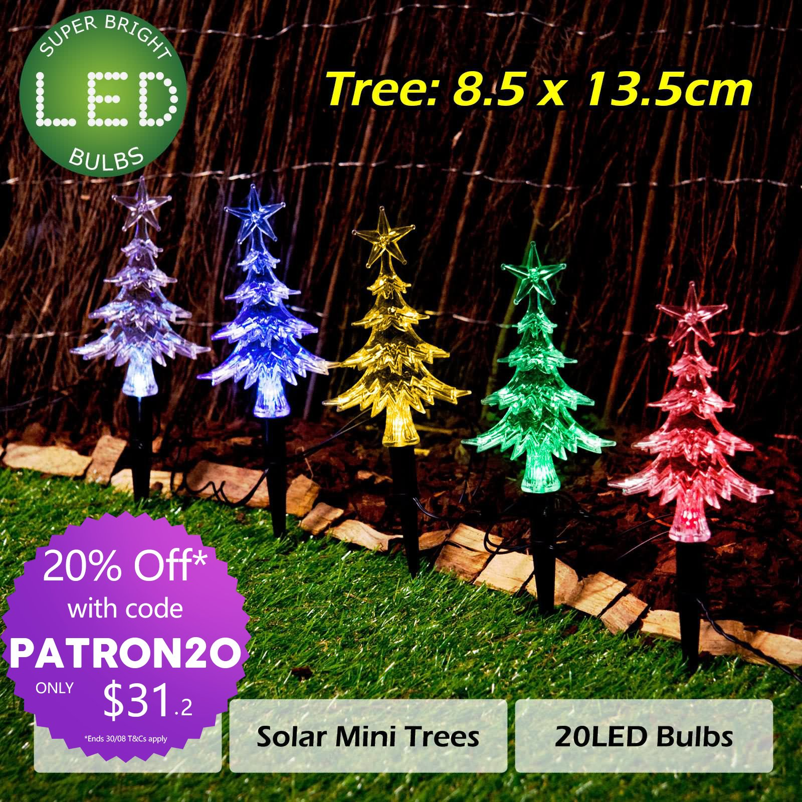 20pc Solar Christmas Lights Led Mini Path Trees Multi