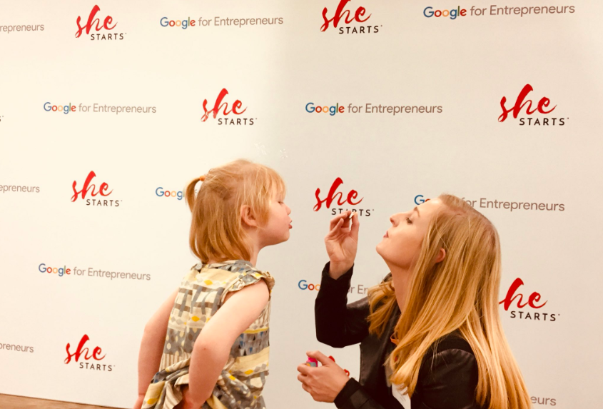 Dr Annie McAuley at Google event with her daughter