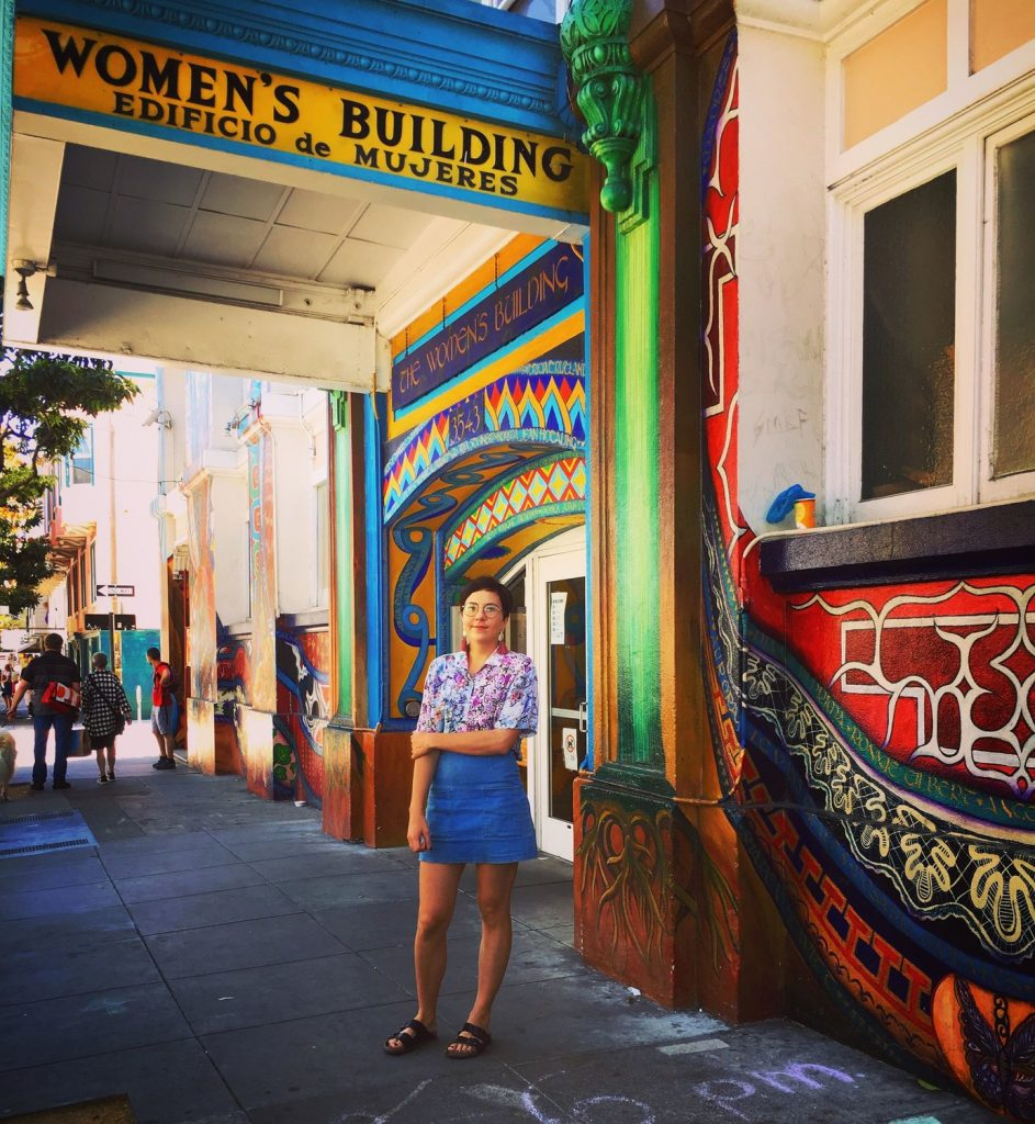 Zoë under the Women's Building in San Francisco.