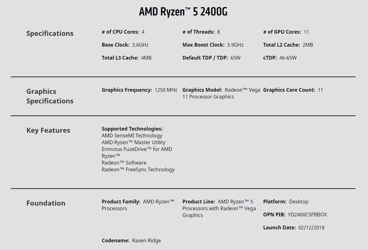 Amd Ryzen 5 2400g With Radeon Rx Vega 11 Graphics 39ghz 4 Cores Am4 Cp Yd2400c5fbbox Sku
