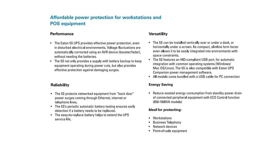 Details about Eaton 5S 1600AU 1600VA 6 Outlet Surge Protect Uninterruptible  Power Supply UPS