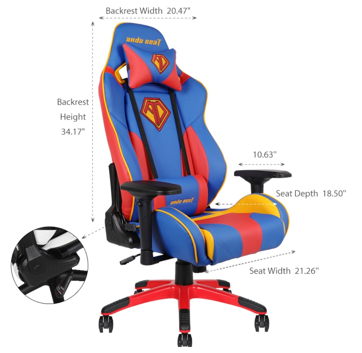 Anda Seat Ad7 09 Special Edition Ergonomic Large Gaming Chair Blue