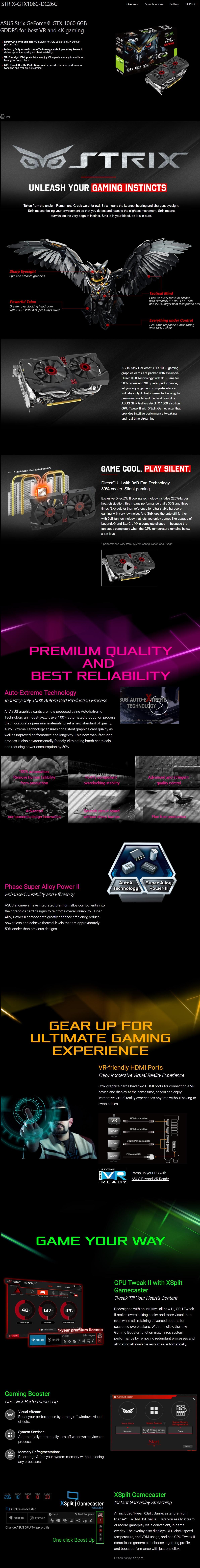 Open Box Sale -- Asus Strix GeForce GTX 1060 6GB 4K Graphic Card