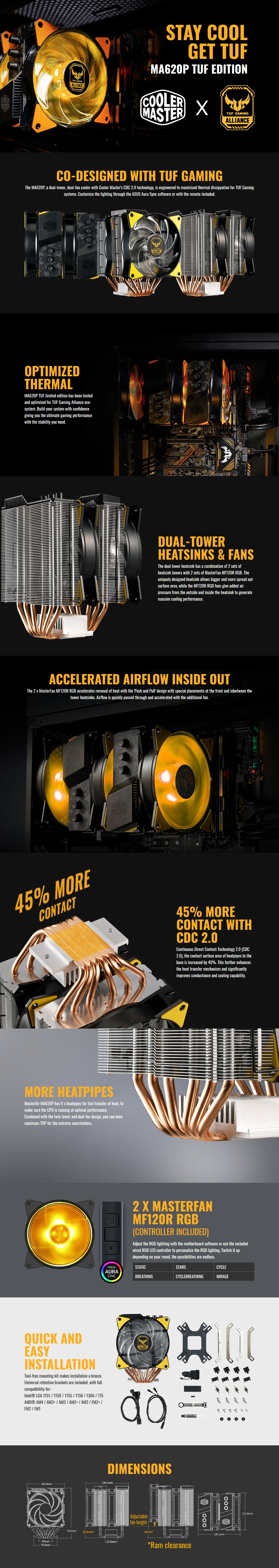 Cooler Master Masterair Ma620p Tuf Gaming Edition Map D6pn Afnpc R1 Deep Cool Z5 Features