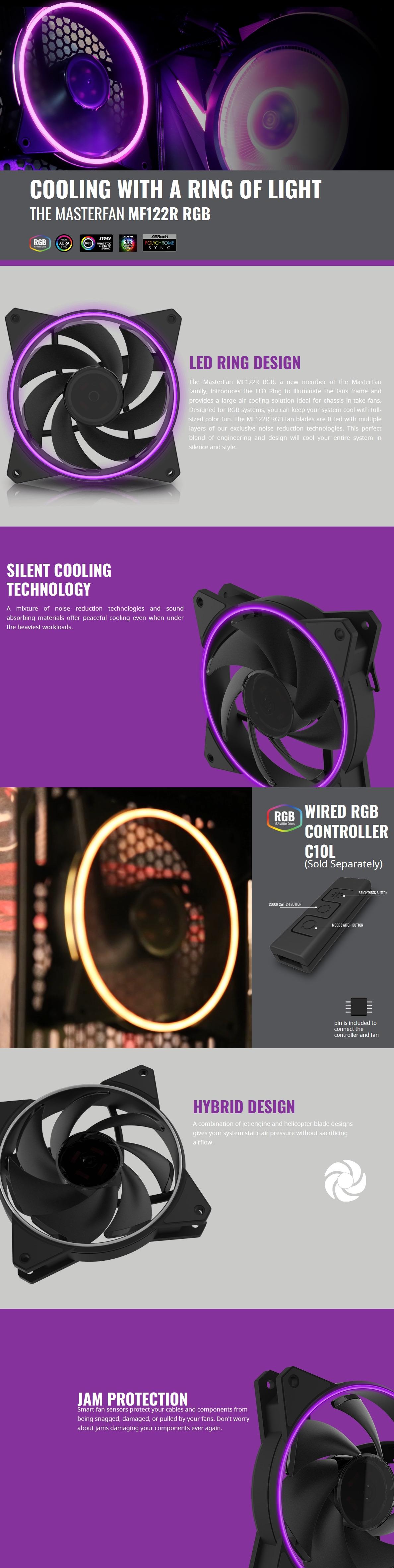 Cooler Master MasterFan MF122R RGB 120MM - Single Pack