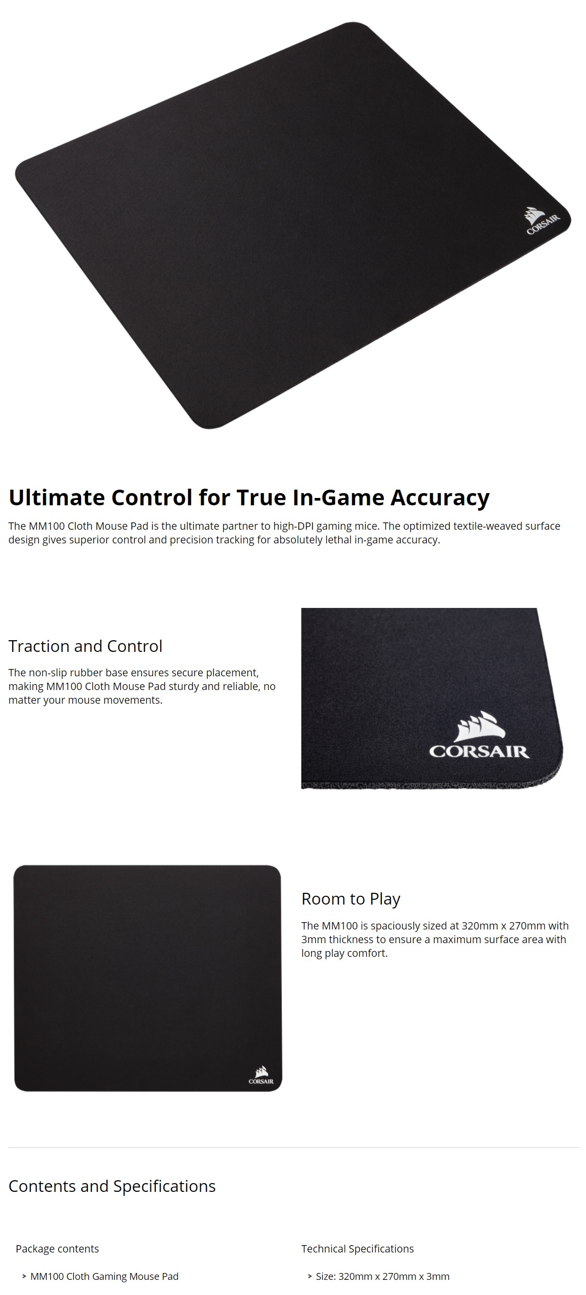 Corsair Mm100 Cloth Gaming Mouse Pad Ch 9100020 Ww Shopping Sturdy Features