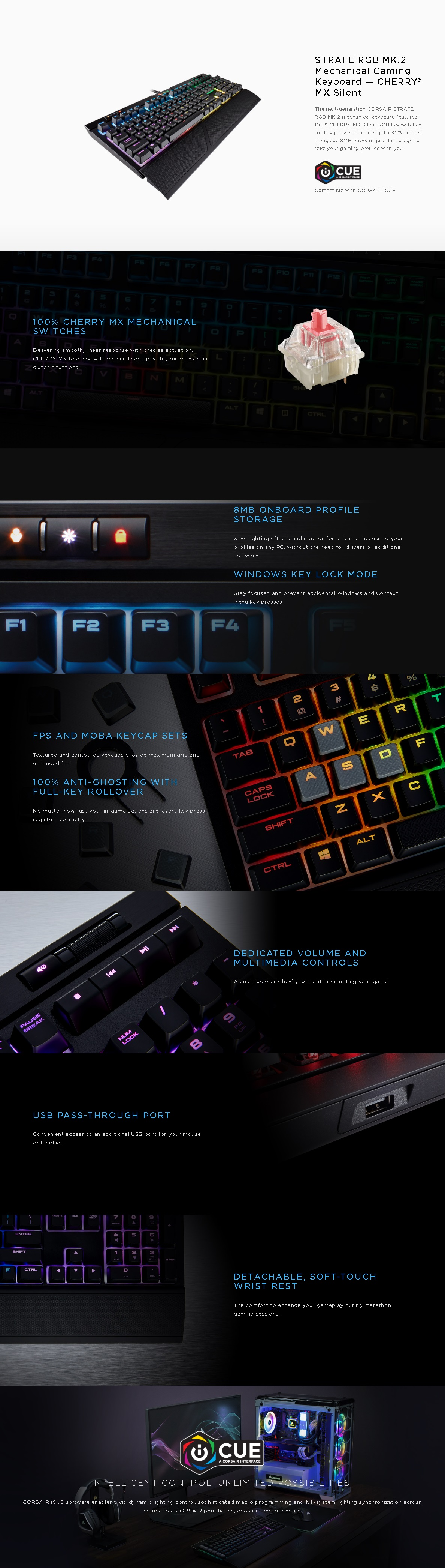 Corsair STRAFE RGB MK 2 Cherry MX Silent Mechanical Gaming Keyboard
