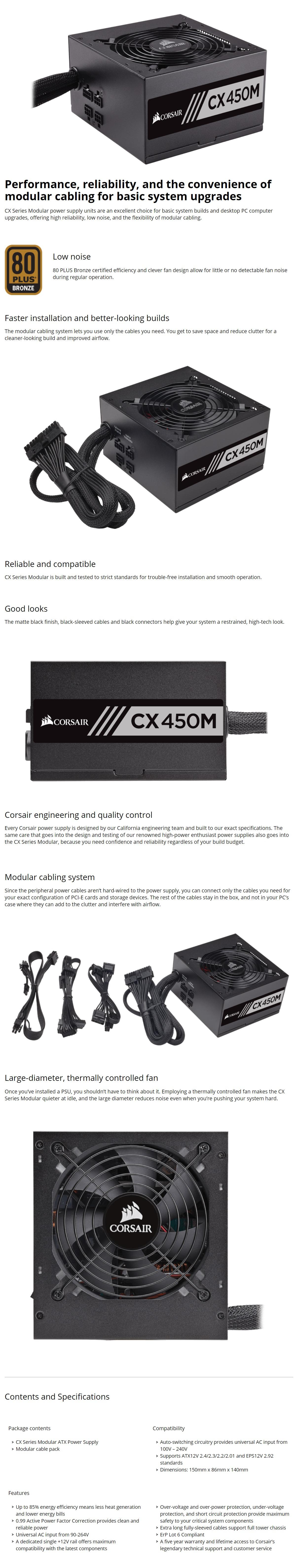 Corsair CX450M 80+ Bronze 450W ATX Power Supply