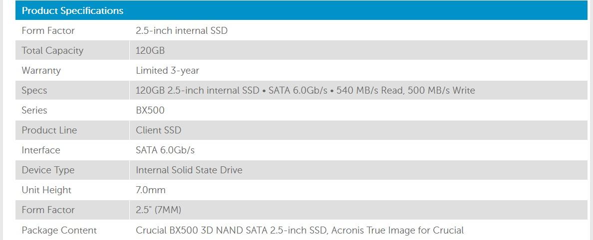 Crucial BX500 120GB 3D NAND 540MB/s 2 5