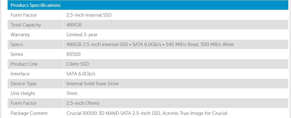 Crucial BX500 480GB 3D NAND 540MB/s 2 5