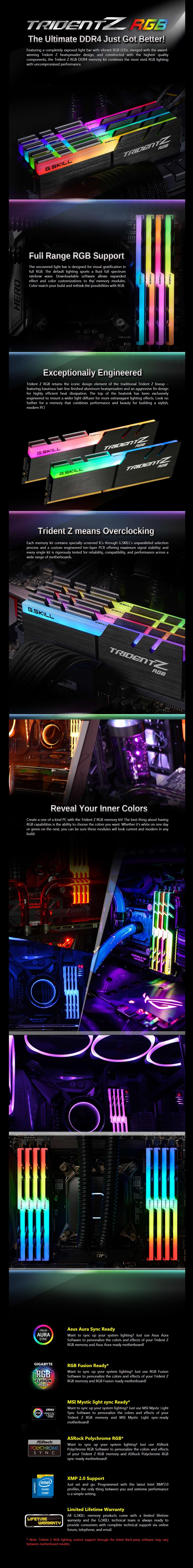 G Skill Trident Z RGB (2x8GB) 3600MHz DDR4 Desktop Memory Kit