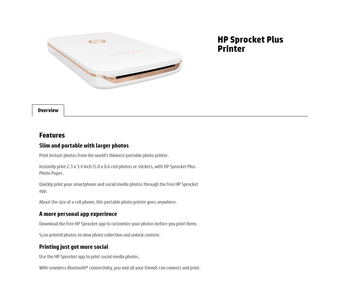 HP Sprocket Plus Portable Photo Printer White