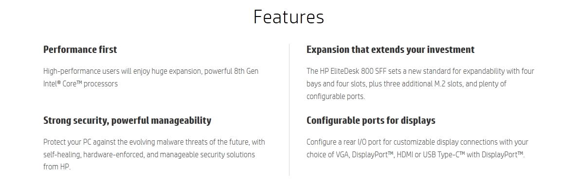 HP EliteDesk 800 G4 SFF i7-8700 8GB 256GB SSD W10P Desktop PC