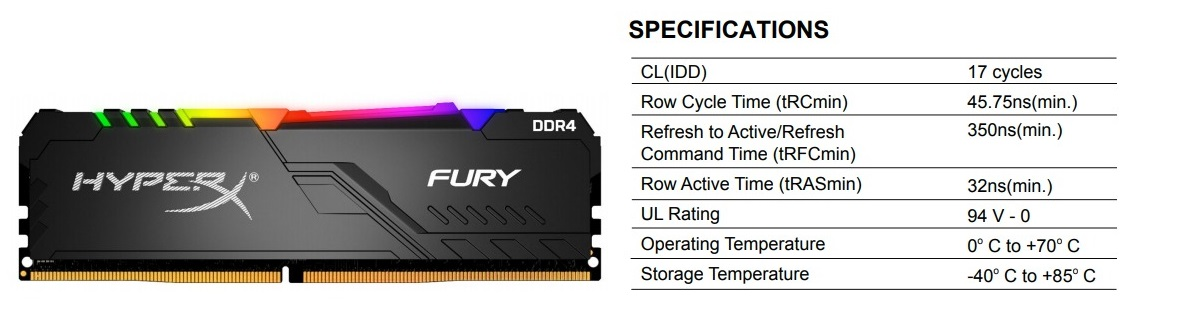 Kingston HyperX FURY RGB 16GB (2x8GB) 3200MHz DDR4 HX432C16FB3AK2/16